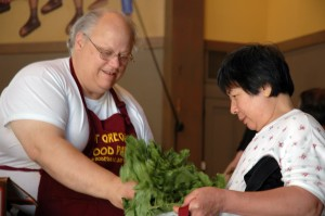 The Food Pantry gives away tons of fresh vegetables and fruit every week.